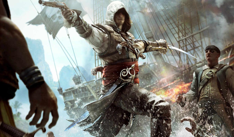 игры, assassin, creed, игр, да, флаг, black,