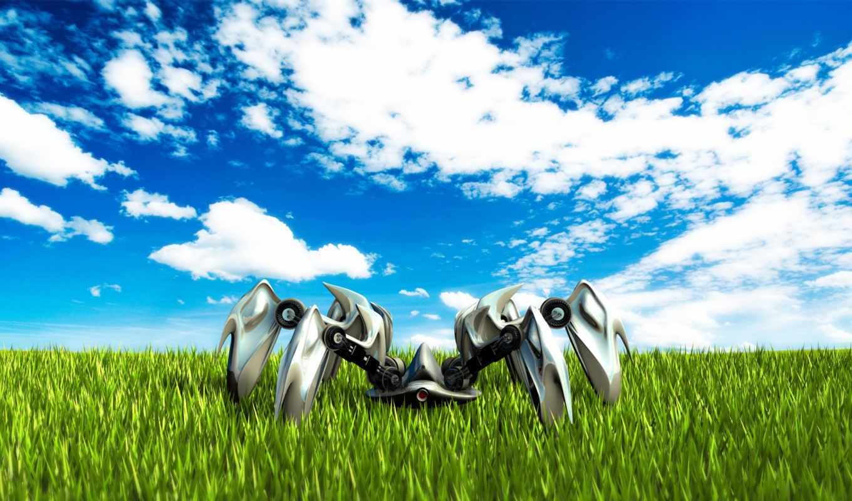 поле, трава, небо, паук, robot, oblaka,