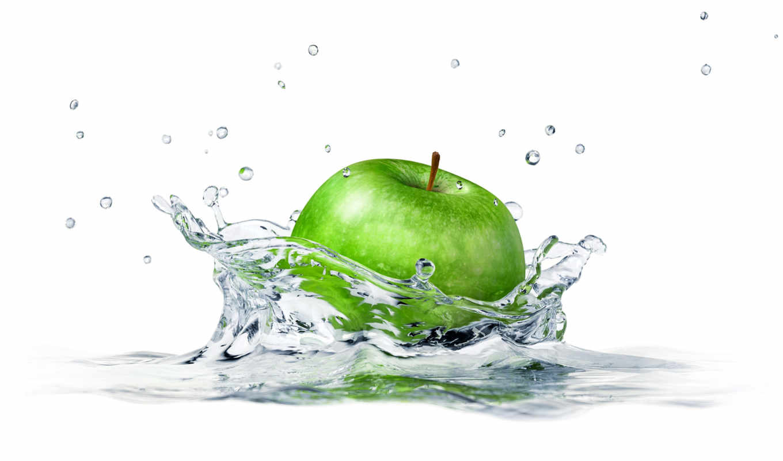 apple, water, брызги, white, еда, фон, sprays,