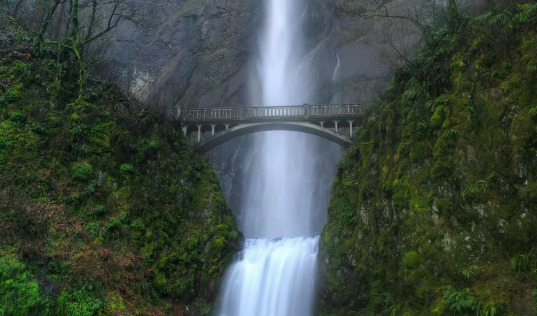 nature, desktop, мост, multnomah, falls, водопад, език, background, art, widescreen, digital, pictures,