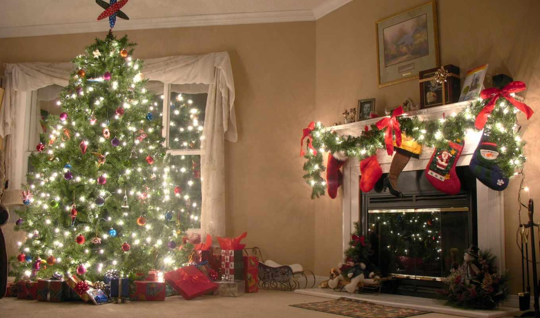 дерево, камин, праздник, house, new, год,