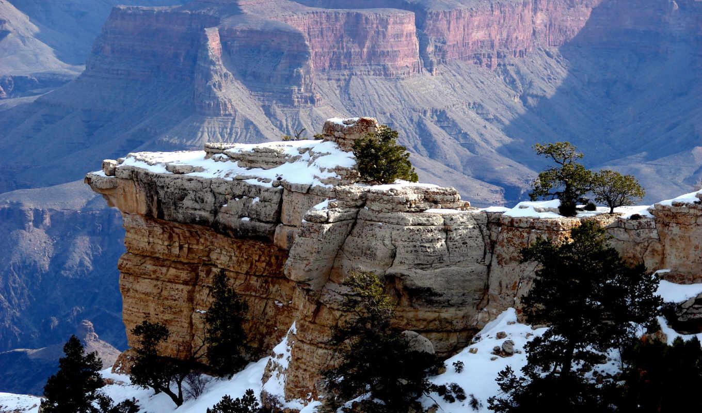 горы, скалы, снег, деревья, нравится, заставки, природа,