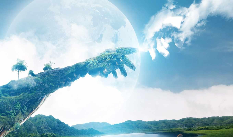 небо, руки, priroda, земля,
