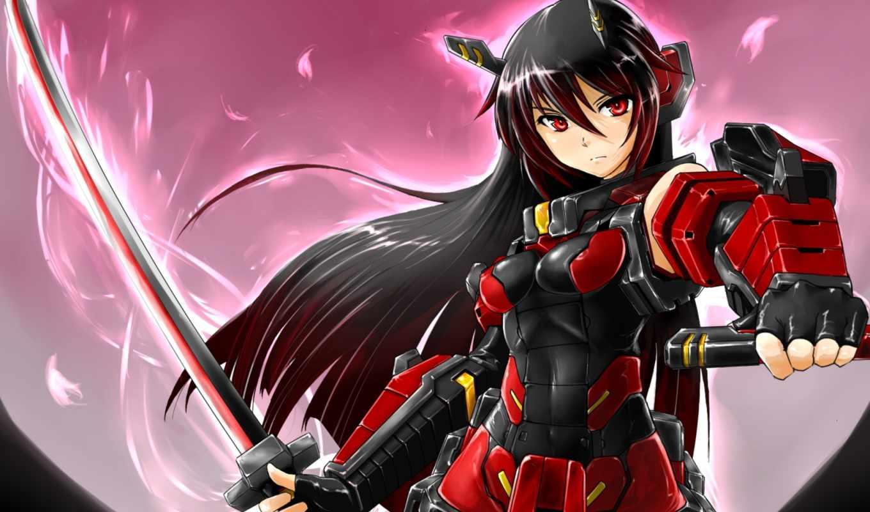 anime, меч, девушка, brunette,