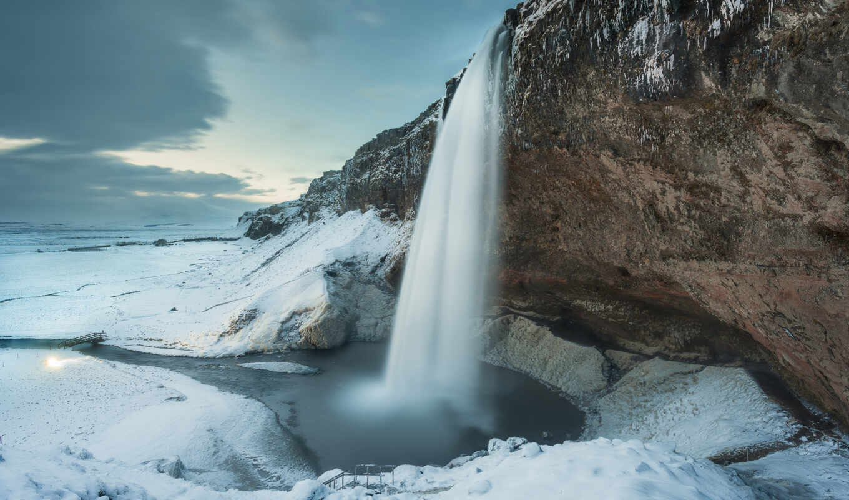 winter, rock, водопад, wasserfall, природа, гора, iceland, schnee, снег