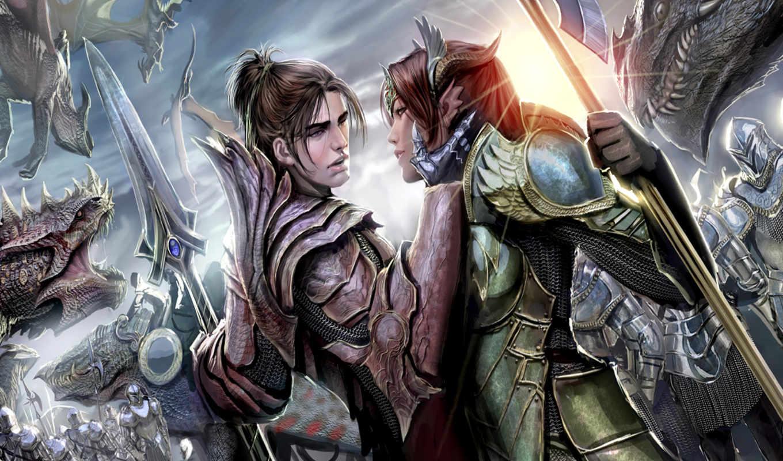 фентези,, аниме, драконы, девушки, мечь, horns,