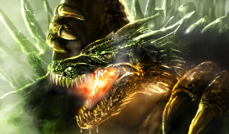 art, дракон, скалы, клыки, ящер, огонь, зубы, голова, графика, fury,