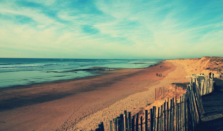 пляж, море, берег, песок, ocean, волны, люди, побережье, забор,