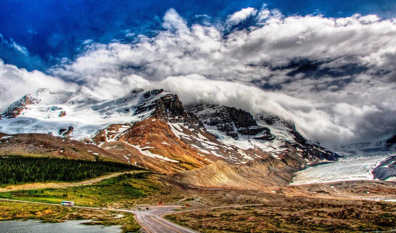 ,mountains, горы, clouds,, дорога, облака,
