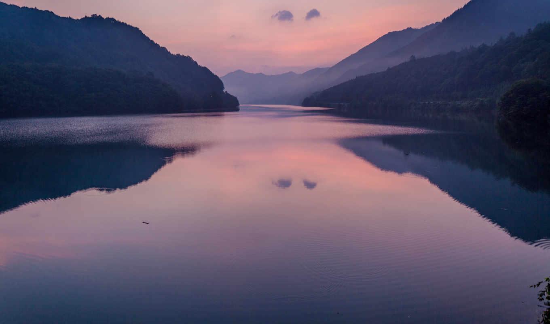 отражение, озеро, горы, landscape, рассвет, лес, город, дерево,