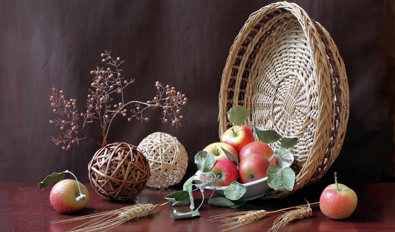 натюрморт, яблоки, еда,