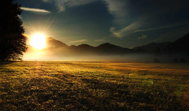 солнце, поле, download, sundown, туман, яркое, sunset, утро, свет, images,