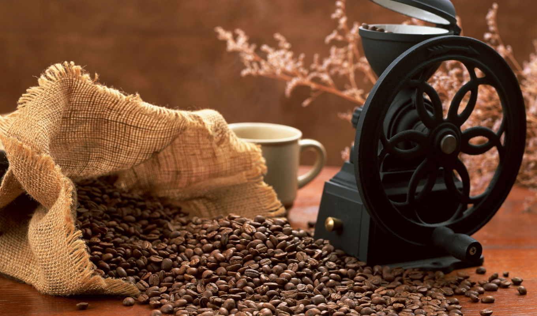 кофе, зернах,