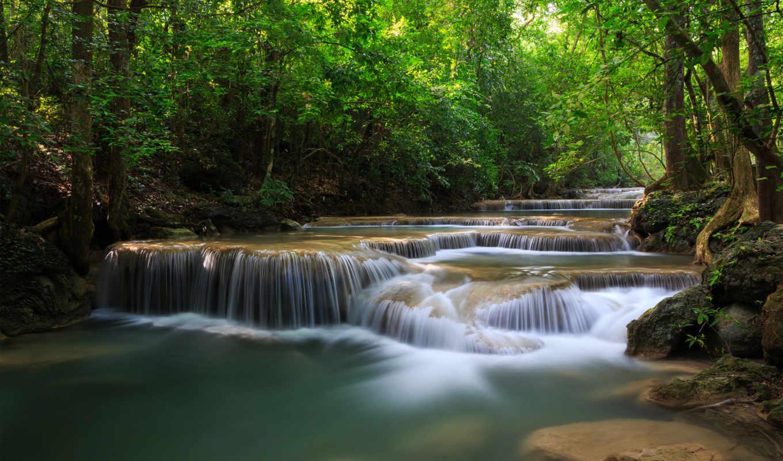 водопады, природа, река, зелёный, лес, графика,