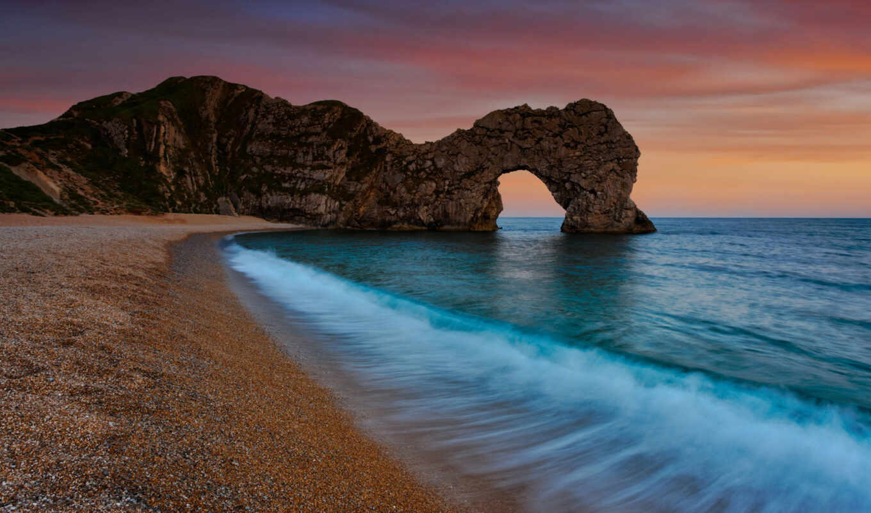 море, пейзажи, природа, скала, закат, океан, вода, арки, арка, прилив, лазурь, берег, desktop, beach, durdle, побережье, door,