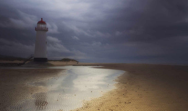 великобритания, песок, англия, уэльс, маяк, вода, lighthouse, небо, тучи, гроза,