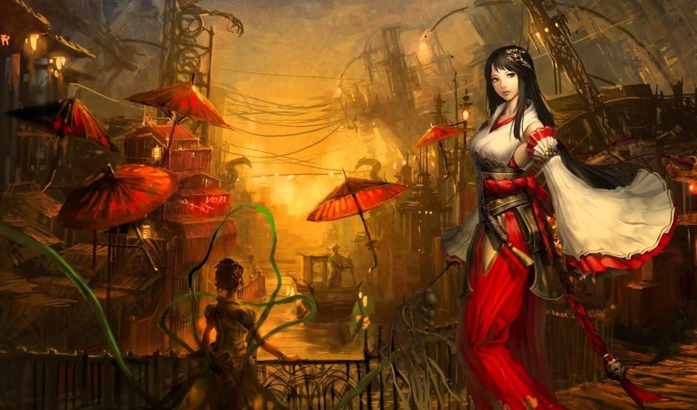 art, anime, artist, девушка, игре, игры, hime, kaze,