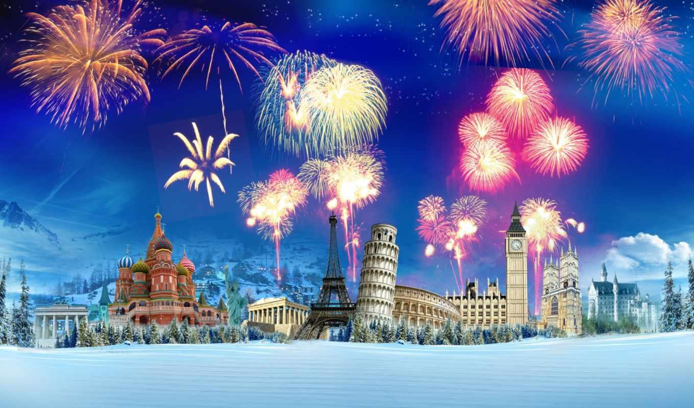 башня, winter, снег, кремль, эйфелева, зимой, букингемский, елки, колизей, пизанская, дворец,