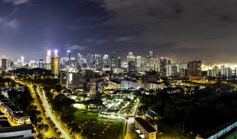 singapore, обойку, ночь, города, небо, смотреть, online, город, landscape, луна,