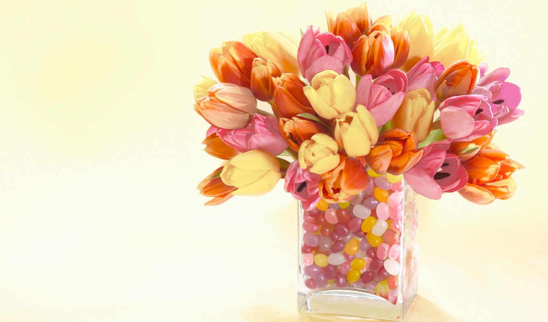 тюльпаны, букет, ваза, цветы,