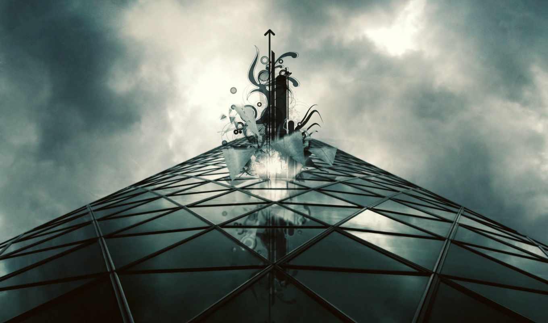 будущее, абстракция, стиль, серый, фантастика, бесплатные, город, art,