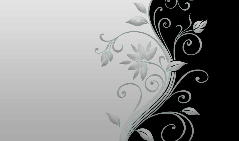 black, flowers, white,