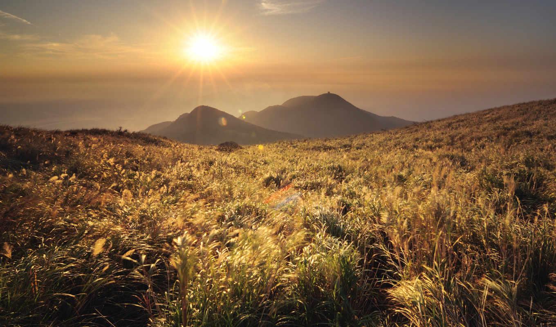 трава, горы, sun, china, холмы, пейзажи -, вид, гора,