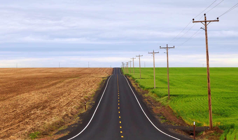 дорога, базе, высоком, поля, качестве,