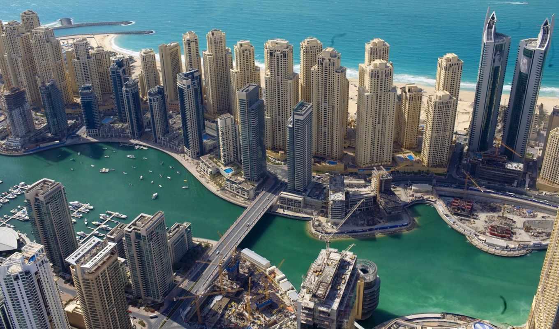 dubai, uae, небоскребы, здания, взгляд, ночь, эмираты, море,