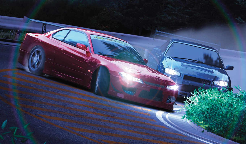 cars, kaido, drift, japan, racer, jdm, initial, shift, anime, nissan, desktop, картинка,