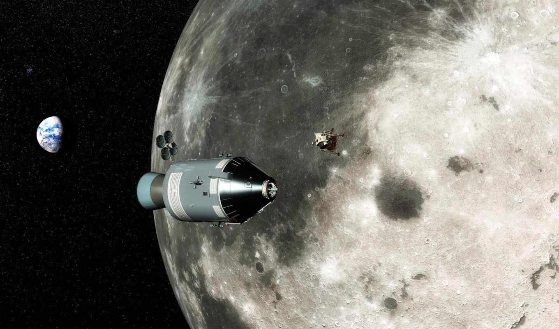 космические, шаттл, фоне, луны, космос,