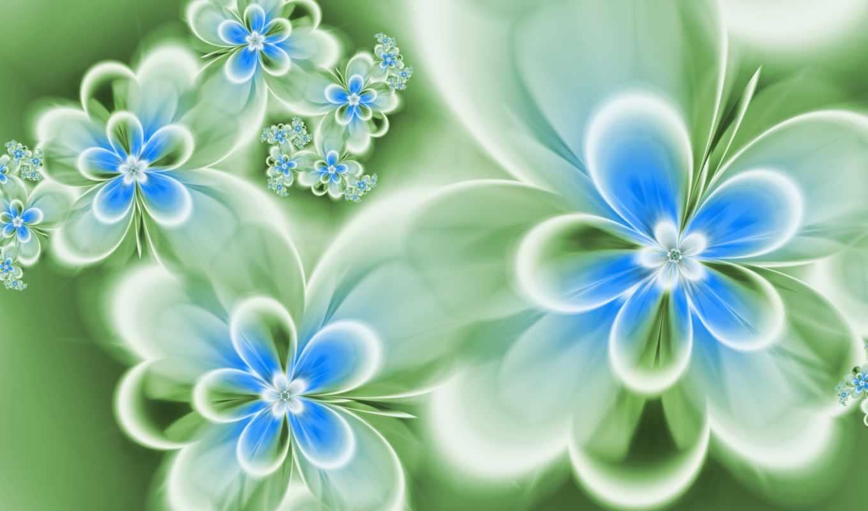 цветы, абстракция, голубые, зеленые,