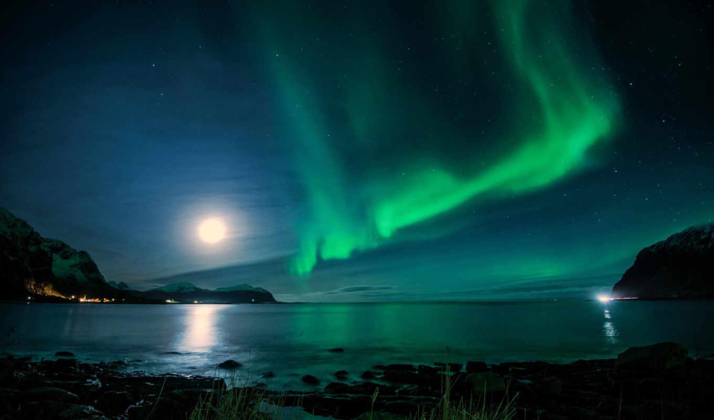 ночь, iceland, свет, северное, луна, море, залив, горы, звезды,