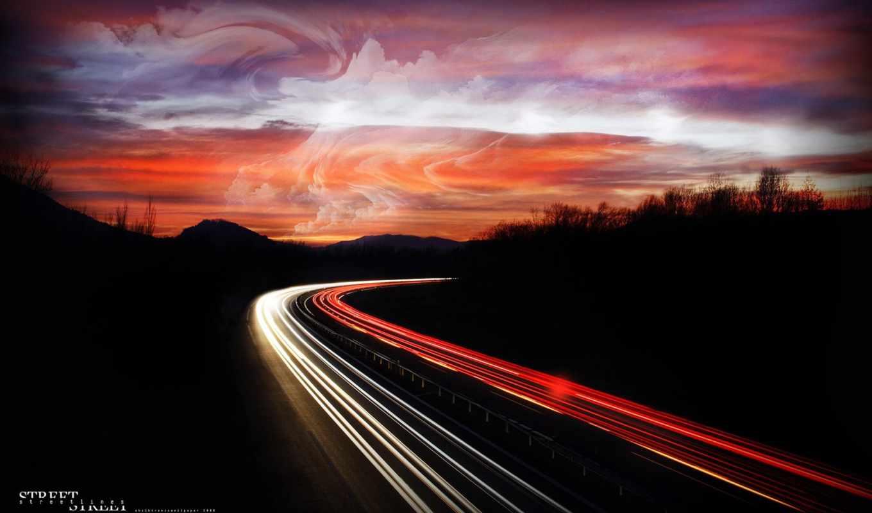 дорога, ночь, огни, ночная,
