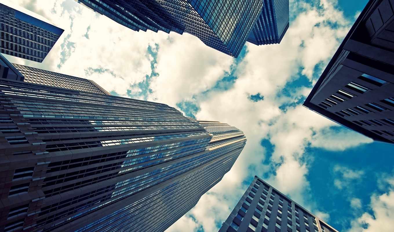 небоскребы, здания, город, glass, небо,