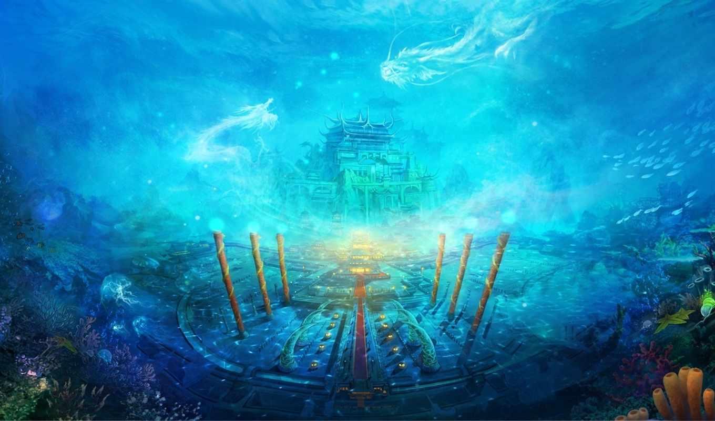 underwater, world, pisces, кораллы, под, водой, art, море, русалки, anime, колонны,