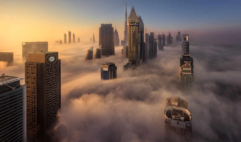 dubai, art, туман, город, небоскрёб, корабль, money, оаэ, within
