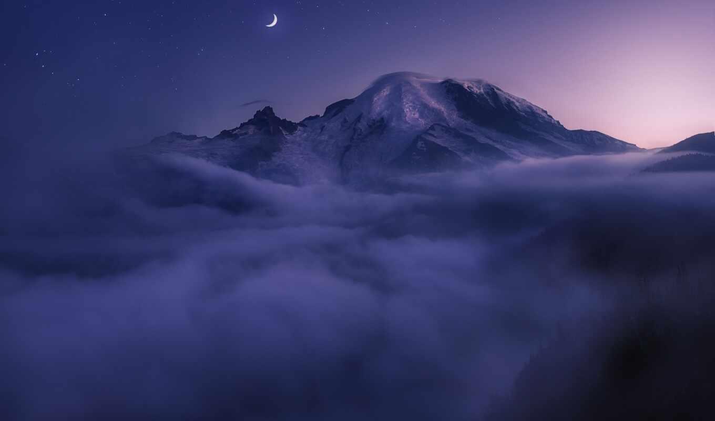 природа, облако, ночь, wallbox, star, гора