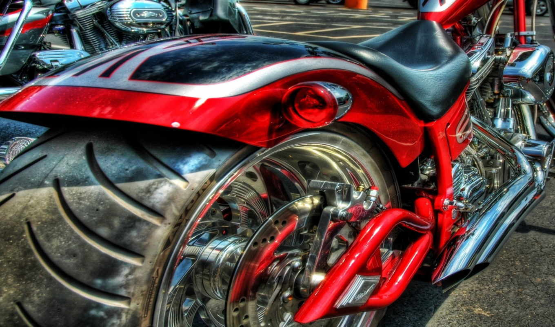 мощный, мотоцикл, большое, колесо, красный, hdr,