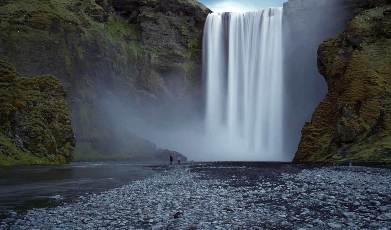 водопад, природа, люди, смотрите,