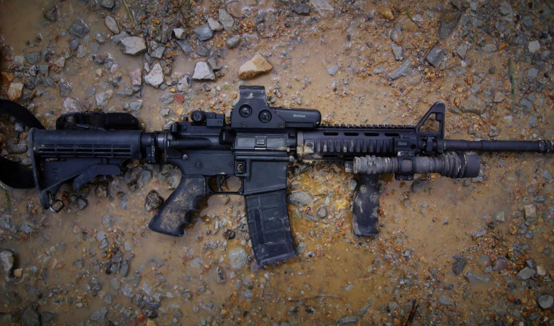 оружие, автомат, AR-15, оптика, фонарь, грязь, лужа, камни