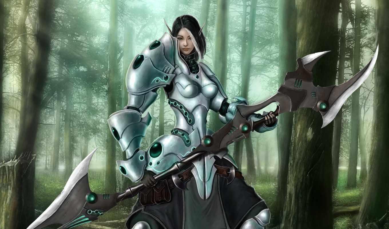 fantasy, доспех, воители, девушка, devushki, эльф, art, воин,  warrior, woman, лес, оружие,