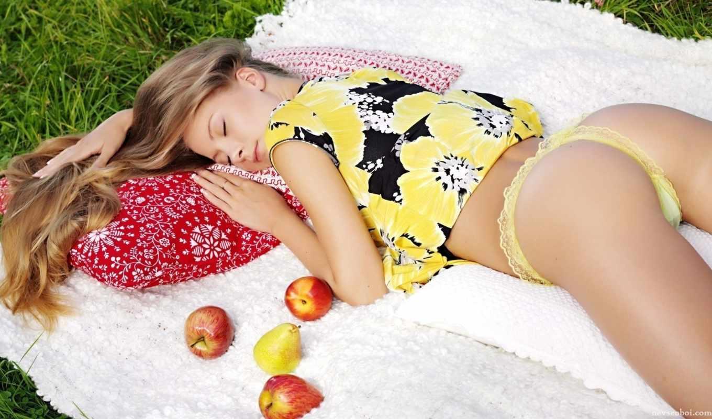 девушка, спит, плод, blonde, ass, трава, красавица,
