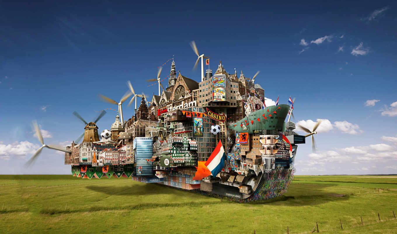 мельницы, ветрянные, город, корабль, поле, boat, amsterdam, fantasy, world,