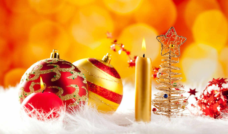 год, новый, свечи, рождество, шарики, праздник, ornaments, desktop, sinh, fac, nen, hinh,