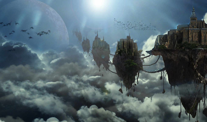 небо, облака, небесный, город, птицы, fantasy,