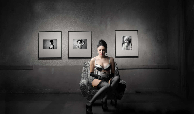 девушка, выпуск, красотками, удивительными, черной, комнате,