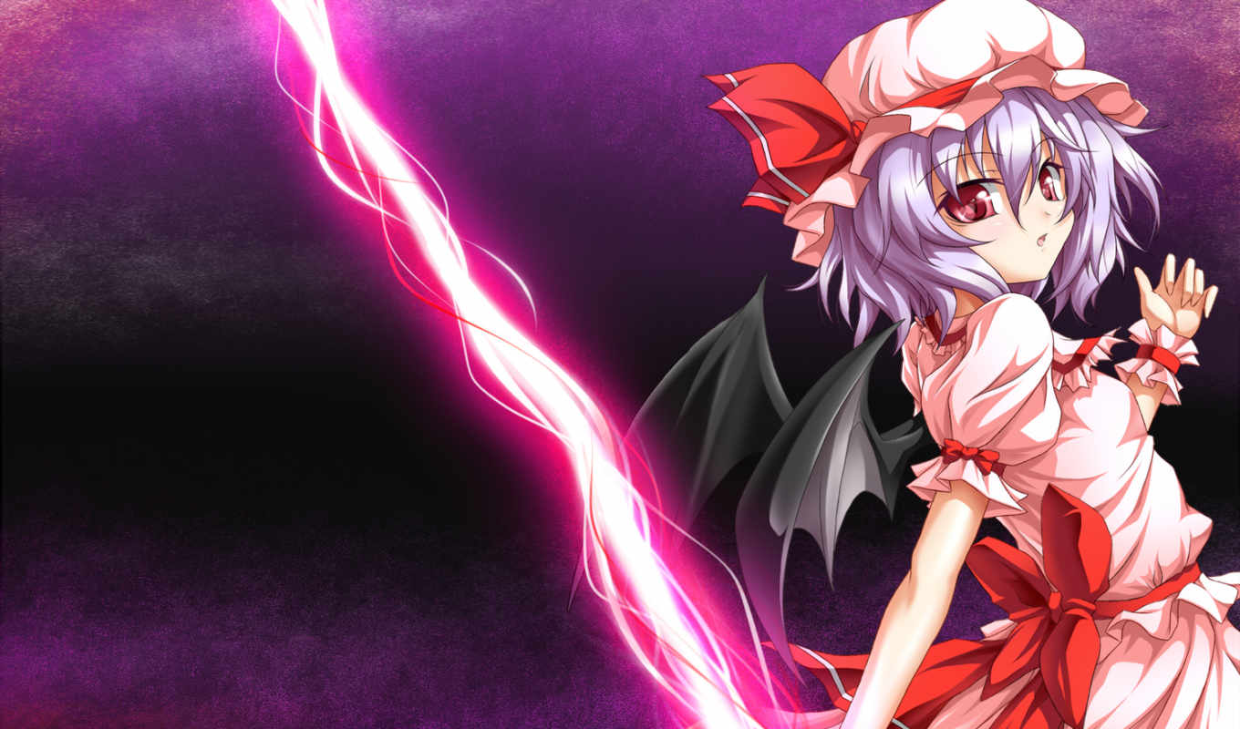 scarlet, remilia, hair, touhou, roura, dress, eyes, red, wings, artist, аниме, blue, with, bonnet,