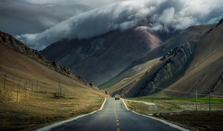 дорога, горы, машина, облака, tibet, тучи,