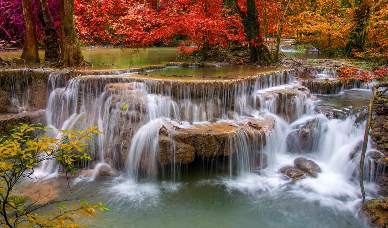 природа, водопад, осень, фотообои, landscape, картины, картинка, водопады,